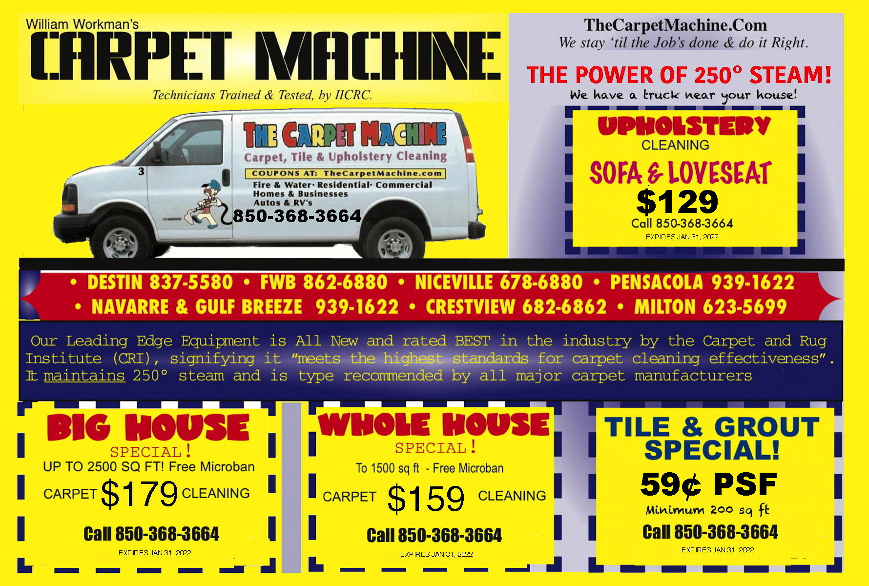 Fort Walton Beach Shalimar Mary Esther Carpet, Tile & Upholstery Cleaning Coupons